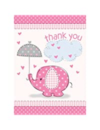 Umbrella Elephant Girl Baby Shower Thank You Notes w/ Envelopes (8ct) BOBEBE Online Baby Store From New York to Miami and Los Angeles