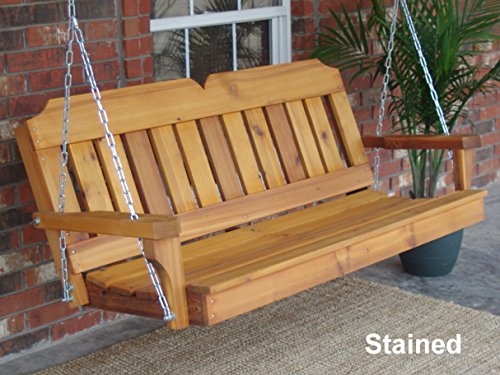 THREE MAN Victorian Cedar Porch Swing with Hanging Chain and Cupholders - 4 Foot Stained