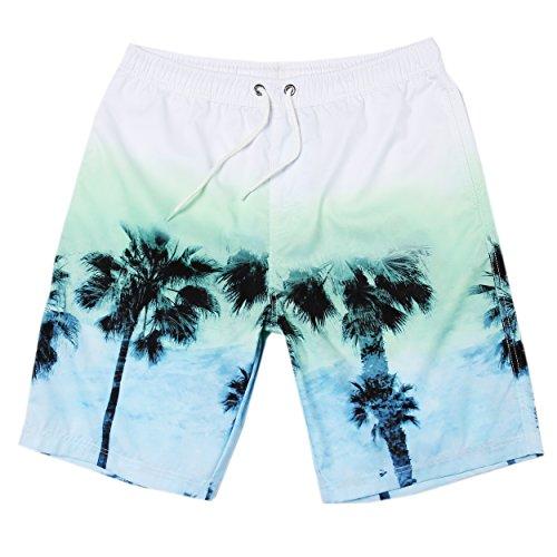 MaaMgic hombre pantalones cortos de playa secado rápido corto tramo de natación Bañadores HSMB16104-blanco
