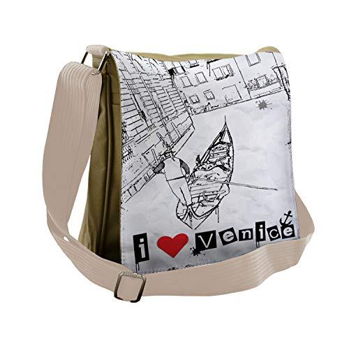 Ambesonne Grunge Messenger Bag, Venetian Canal Art Love, Unisex Cross-body