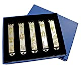 Set of 5 pewter Mezuzah from Jerusalem: Menorah, western wall, star of David , Jerusalem panorama + GIFT: Gold plated Menorah key chain!