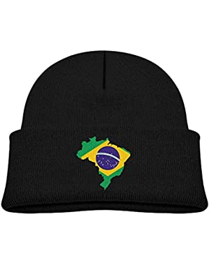 Cute Brasil Flag Map Printed Infant Baby Winter Hat Beanie