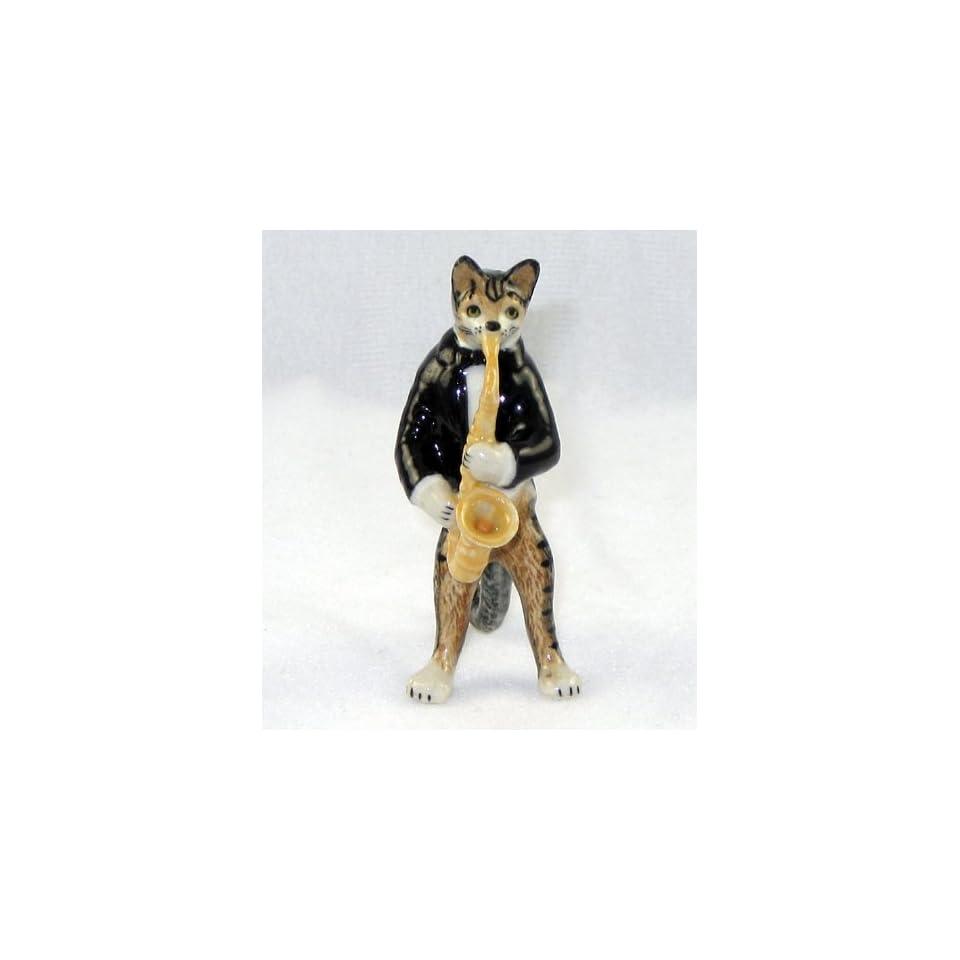 CAT Tiger Grey n TUX Musician plays SAXAPHONE MINIATURE New Porcelain Figurine KLIMA L657B
