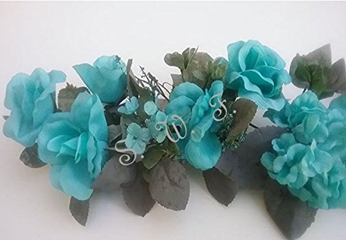30'' Crinkle Rose Swag Artificial Silk Wedding Bridal Bouquet Craft Flowers Home Decor (Light Aqua) by Wedding Flowers