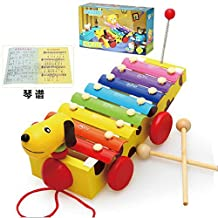 Goodplay Xylophone Wooden 8 Notes Hand Knock Musical Animal Xylophone 8 Keys Wooden Instrument Percussion With 2 Wood Mallets For Kids Musical Instrument (Dog)