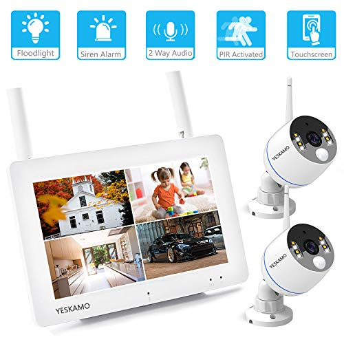 YESKAMO Floodlight Touchscreen Outdoor Security Camera System Wireless 7 Portable Touchscreen Monitor 2 Floodlight 1080P WiFi IP Cameras for Home Video Surveillance, Two Way Audio