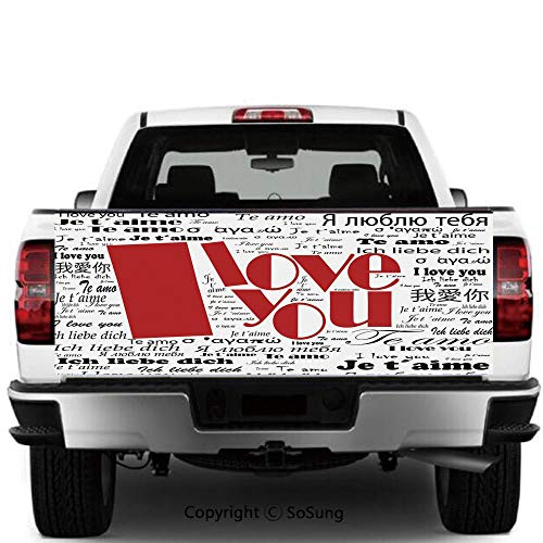 SoSung I Love You Vinyl Wall Stickers,Newspaper Stylized International Love Words Contemporary Happy Mothers Day Decorative Cars Trucks Decorative Decal Sticker,65x25 Inches,White Black Red