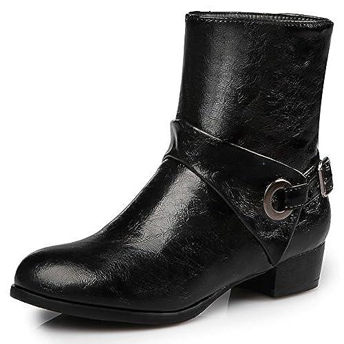 Women's Trendy Plain Round Toe Buckle Strap Block Low Heel Slip on Biker Booties Short Ankle Boots Shoes