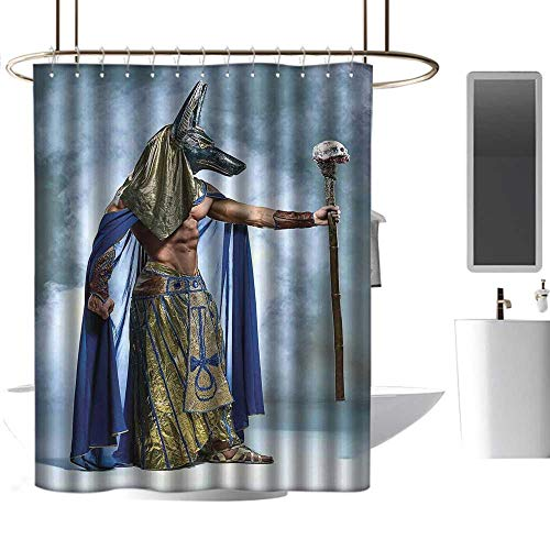 homehot Shower Curtains tan Egyptian,Ancient Egyptian Pharaoh with a Mask of Anubis Foggy Background Print,Navy Gold and Dimgrey,W36 x L72,Shower Curtain for -