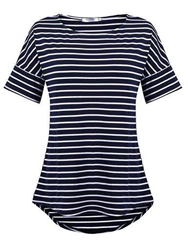 POGTMM Womens Casual Blouse Short Sleeve Striped T Shirt Tops Tee (Navy Blue, US -