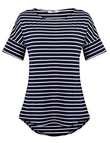 POGTMM Women's Casual Hip Length Tunic Top for Women with Irregular Hem (Navy Blue, US XXL(20-22))