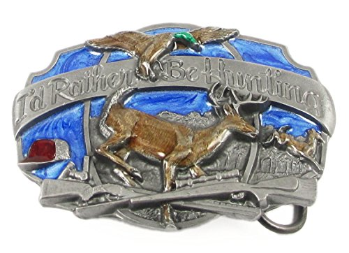 Pewter Belt Buckle - I'd Rather Be Hunting - Pewter Belt Buckle