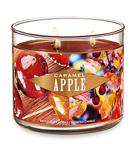 Bath and Body Works Caramel Apple Candle - Large 14.5 Ounce 3-wick Limited Edition Fall ()
