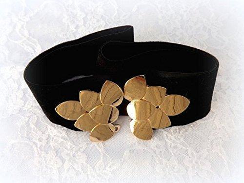Black Velvet Belt With Gold Leaf Buckle. Elastic Waist Belt. Black Wide Dress Belt. Woman's Accessories.