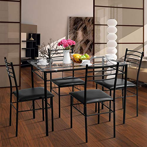 Dining Room Furniture Tangkula Dining Table Set 5 Pieces Home Kitchen Dining Room Tempered Glass Top Table And Chairs Breaksfast Furniture Dinning Table With Chairs Black Furniture Dining Room Sets