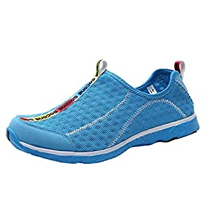 UJoowalk Men's Aqua Lightweight Comfortable Walking Slip On Mesh Sneakers Hiking Running River Swim Beach Pool Water Shoes (10 D(M) US, Sky Blue)