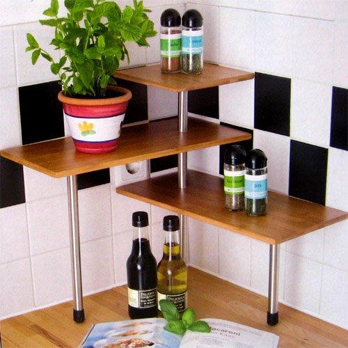Kuchenregal Eckregal Bambus 3 Ablagen Kuchengestell Kuchenregal
