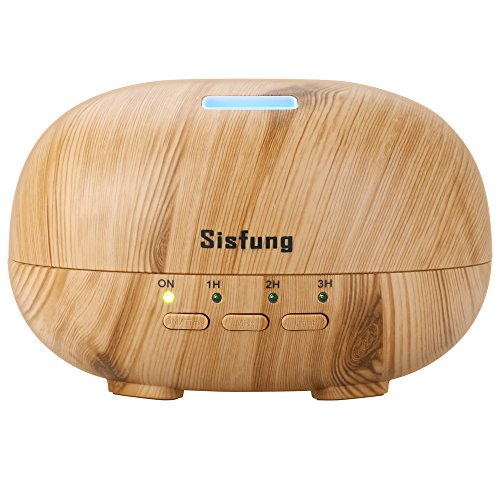 Sisfung Essential Oil Diffuser, 300mL Ultra Quiet Wood Grain Aromatherapy Diffuser With 7 Color LED, 4 Timer and Waterless Auto Shut-off Suitable for Baby, Old People and Young People