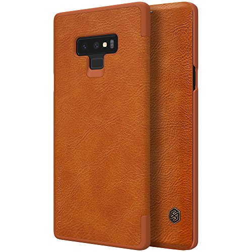 Galaxy Note 9 Case,Flip PU Leather Wallet Smart Sleep Wake Protection Shell Case with Card Slot for Samsung Galaxy Note 9-2018 Newest Released (Brown)