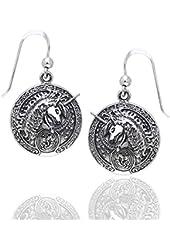 Courtney Davis Sterling Silver Celtic Unicorn Medallion Hook Earrings