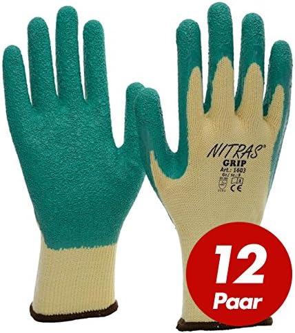 12 Paar Nitras GRIP Artikel 1603 Strick Handschuhe mit Latex Beschichtung