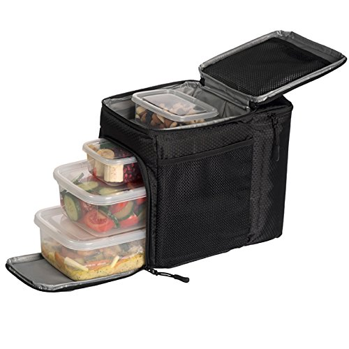 Meal Prep Bag – Insulated Lunch Cooler Bag with 4 Reusable Microwavable Portion Food Containers – Perfect Lunch Bag for Weight Loss Solutions and the Travel Bag to Satisfy Your Daily Nutritional Needs