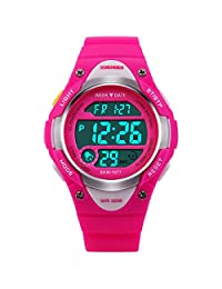 Niyatree Child Sports Digital Watch With Week Alarm Date Light Gmt Dual Time Water Resistant Rubber Band Kid Watch - Rose Red