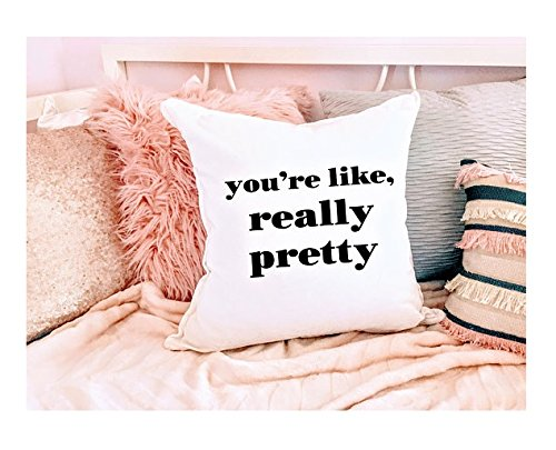 You're like, really pretty pillowcase - quote throw pillow cover, girls pillow case, monogrammed pillow case, white pillow case mean girls, - Khaki Chanel