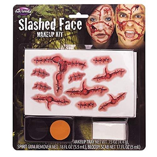 Slashed Face Makeup Kit Halloween Cosplay Dress Up -