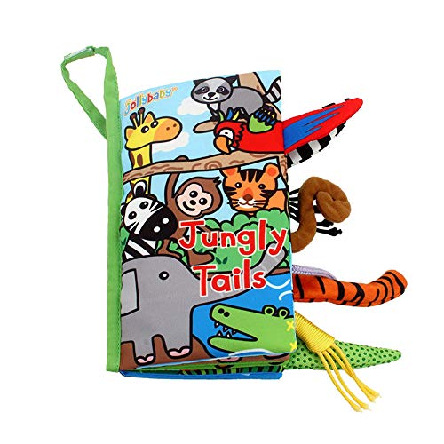 LOHOME Soft Cloth Books - Non-Toxic Fabric Baby Early Education Toys Activity Crinkle Animals Cloth Book for Toddler, Infants and Kids - Perfect for Baby Shower (Jungly Tails.) (Jellycat Tails)