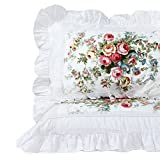 FADFAY Shabby Pink Rose Floral Print Pillowcases Elegant Country Style Vintage Lace Ruffles Bedding Pillow Covers Standared Size 19'' x 29'' (King, King)