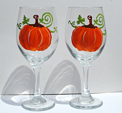 2 Pumpkin Stemmed Hand Painted Wine Glasses Set