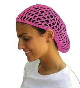 Pink Hair Net - Snood - Crochet Hair Net Snood In Pink