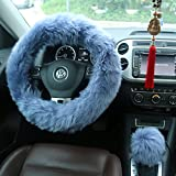 wheel cover for women - Ogrmar Winter Warm Faux Wool Steering Wheel Cover with Handbrake Cover & Gear Shift Cover for 14.96