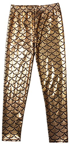 Alaroo Girls High Stretch Scale Mermaid Leggings For Halloween Golden 5-6 Years