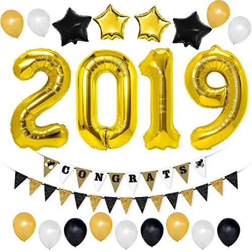 Unomor 2019 Graduation Decorations with Gold 2019 Balloons,