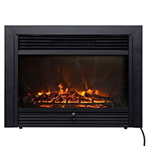 "28.5"" Fireplace Electric Insert Heater Glass Embedded Log Flame Remote Home"