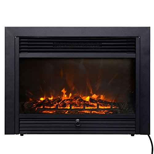 Giantex 28 5 Electric Fireplace Insert With Heater Glass View Log Flame With Remote Control