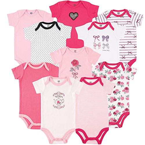 Hudson Baby Boy and Girl 10 Pack Bodysuits, Tea Party & Bows, 0-3 Months - Lot 2 Bodysuits