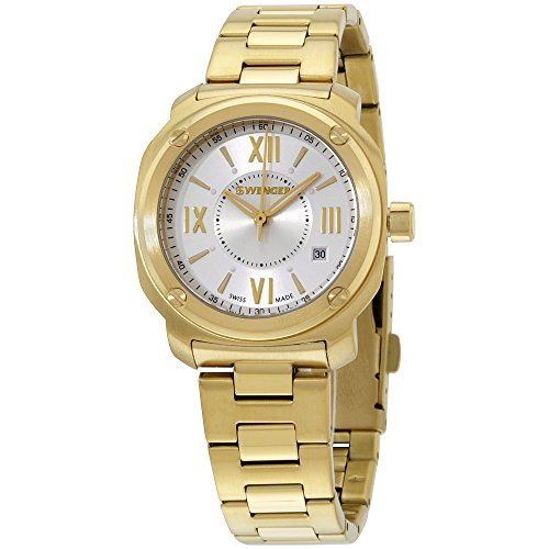 Wenger Silver Dial Gold Tone Stainless Steel Ladies Watch 011121113