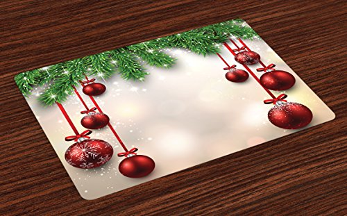 Ambesonne Christmas Place Mats, Xmas Traditional Winter Season Theme Fir Twigs and Vibrant Balls Graphic Print, Washable Fabric Placemats for Dining Room Kitchen Table Decor, Green -
