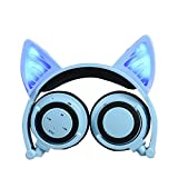 Cat Ear Headphones, DICEKOO Wireless Bluetooth Headset Flashing Glowing Cosplay Fancy LED Light USB Charger Earphone for iPhone 7/6s/iPad/Fire 7,Android Phone, Macbook (Blue)