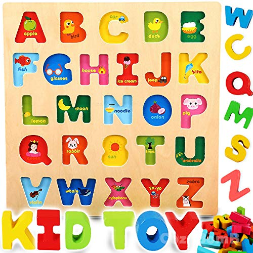 - CozyBomB Wooden Alphabet ABC Baby Puzzle for Toddlers 2 3 Years - Alphabets Name Puzzles Set Letter Blocks for Kids Learning Educational Montessori Letters Jigsaw Board Games Toys for Kindergarten