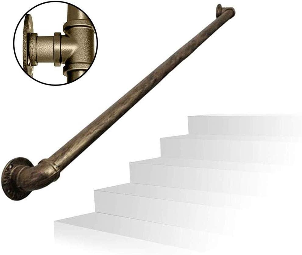 GJIF Pasamanos - Kit completo.Vintage forjado de hierro galvanizado de tuberías barandilla de la escalera, ático Pasillo interior y al aire libre Negro Barandilla manijas, 30-600cm (Size : 100cm)