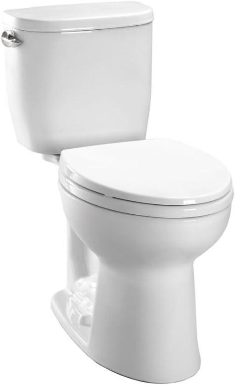 TOTO CST243EF#01 Entrada Two-Piece Round 1.28 GPF Universal Height Toilet, Cotton White - -