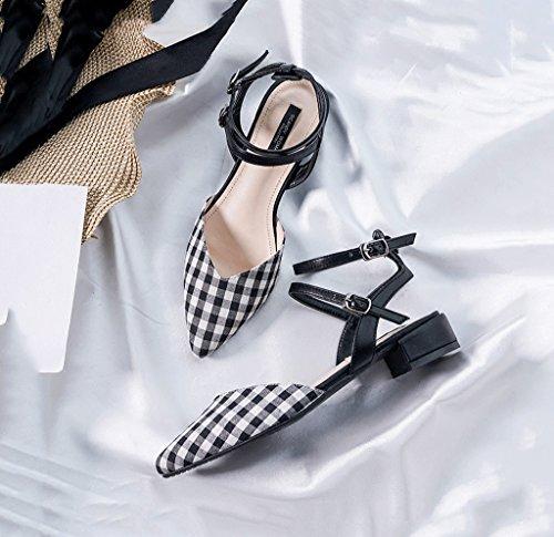 Checkered Flat Shoes Comfortable Retro Roman Sandals Summer Feet Bare Shoes Elegant Baotou Shoes Black kXzouRVbeL