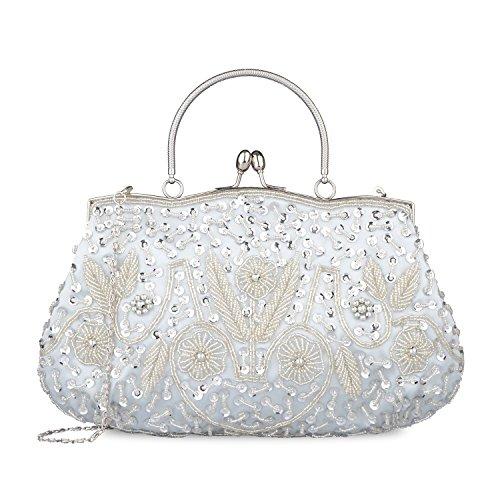 Sequin Kaever Beaded Party Wedding Silver Design Interior Handbag Lock Clutch Frame Kissing Metal Satin Evening rr5qw4