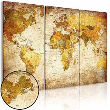 Wall Art Canvas Prints World Map, NLEADER Framed Vintage Painting Ready to Hang 120x80cm(47x31in) - 3 Pieces Watercolor Picture for Home Office Bar Decor by NLEADER