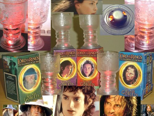 LORD OF THE RINGS Collectible Set of 4 Collectible Light-Up Glass Goblets (2001 Limited Edition)