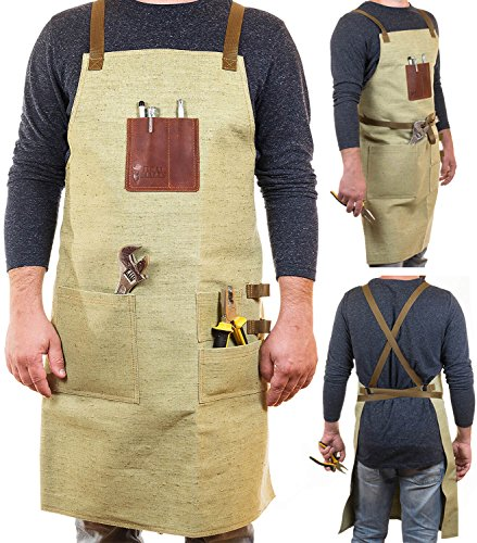 ONLY 1 DAY PRICE! PREMIUM Shop Aprons for Men | Durable Workshop Apron, Best Safety Apron or Worker's Apron for Woodworking, Building, Carpentry, Grilling & - Shops Wood Best